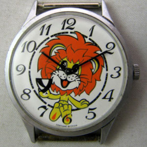 Soviet mechanical watch for kids Chaika Lion Cartoon USSR 1980s