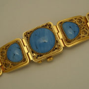 Russian ladies watch Chaika Gold plated Turquoise