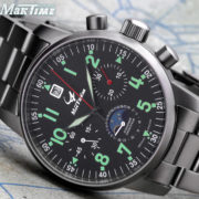 Russian Chronograph Pilot Watch Aviator Maktime 31679 Moonphase