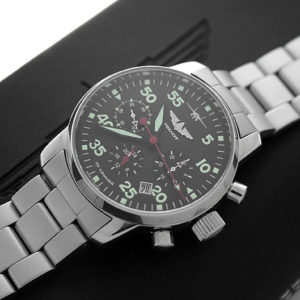 Russian Chronograph Watch Pilot Aviator Berkut 31681 w/ stainless steel band-2