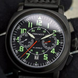 Russian Chronograph Watch Pilot Poljot 3133 Black