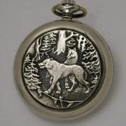 Soviet mechanical pocket watch Molnija Wolfs Hunting USSR 1985