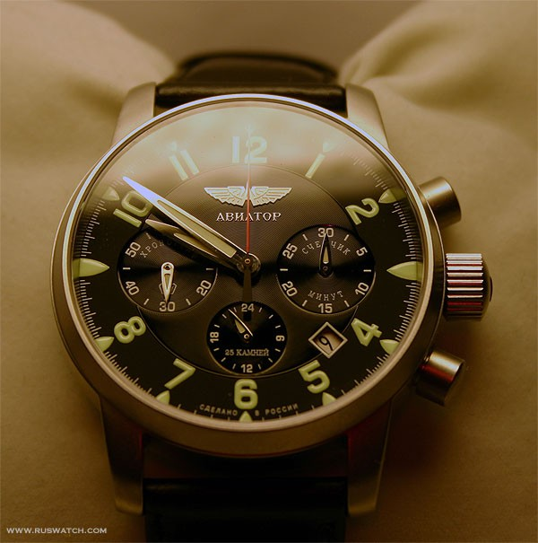 Russian military chronograph watch poljot aviator 31681 6975607 all russian watches for Foljot watches