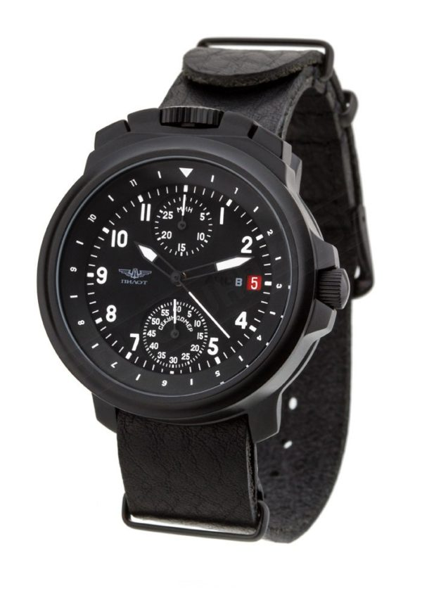 Russian Chronograph Watch Pilot Aviator BORTOVIE 3133 Black/White
