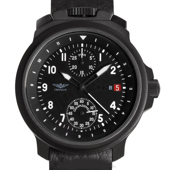 Russian Chronograph Watch Pilot Aviator BORTOVIE 3133 Black/White