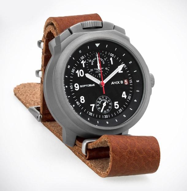 Russian Chronograph Watch Pilot Aviator BORTOVIE 3133 Grey/White
