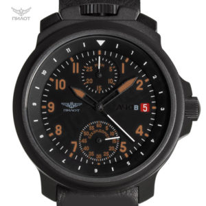 Russian Chronograph Watch Pilot Aviator BORTOVIE 3133 Black/Orange