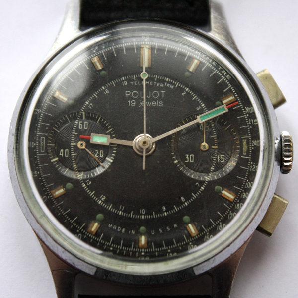Soviet Vintage Poljot 3017 Russian Military Chronograph Watch Black