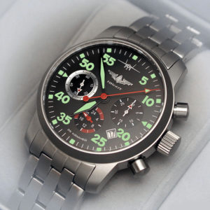 Russian Chronograph Watch Pilot Aviator Berkut 31681 w/ stainless steel band