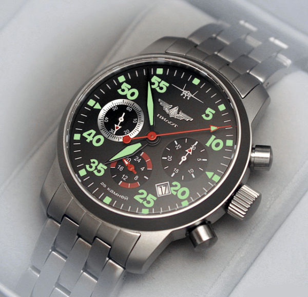 Russian Chronograph Watch Pilot Aviator Berkut 31681 w/ stainless steel band