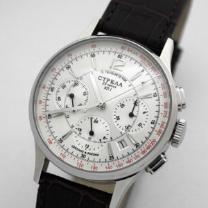 Russian Mechanical Chronograph Watch POLJOT STRELA 31681 White