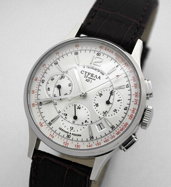 Russian Mechanical Chronograph Watch POLJOT STRELA 31681 White