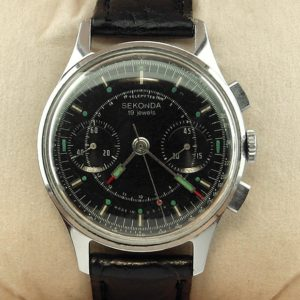 Sekonda 3017 Military Chronograph Watch Black USSR 1960s