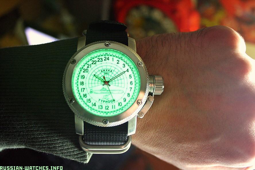 Russian 24-Hour Watch Submarine TYPHOON (Akula) White Luminescent 47 mm