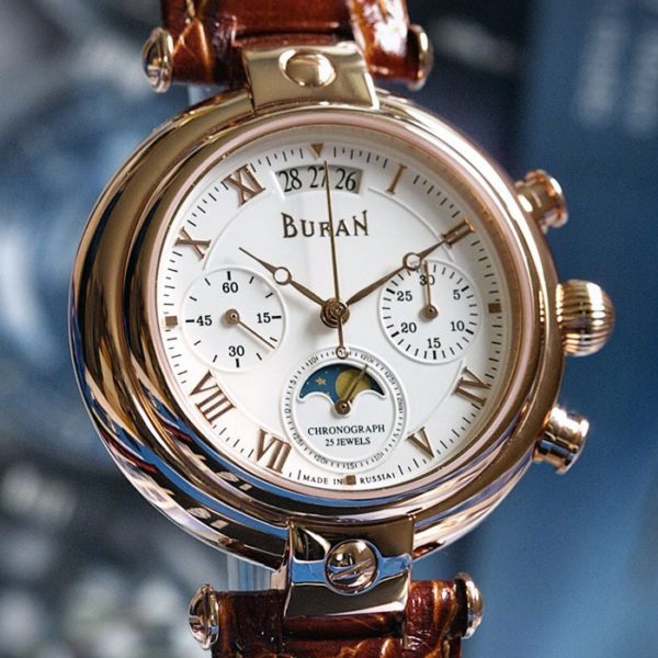 Russian Chronograph Watch BURAN 31679 Moonphase White Rose Gold