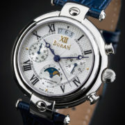 Russian Chronograph Watch BURAN 31679 Moonphase White Guilloche