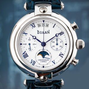 poljot buran chronograph moonphase watch
