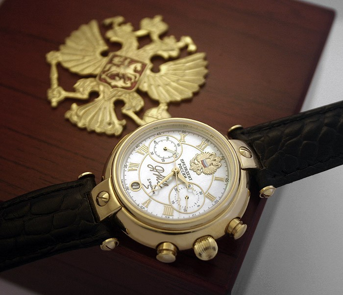 Russian chronograph watch poljot president medvedev perl all russian watches for Foljot watches
