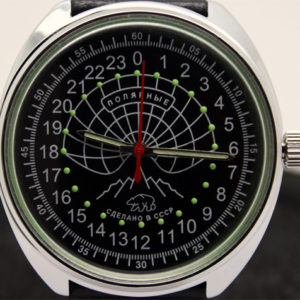 Raketa POLAR BEAR Russian 24-Hour Mechanical Watch (black, luminescent)