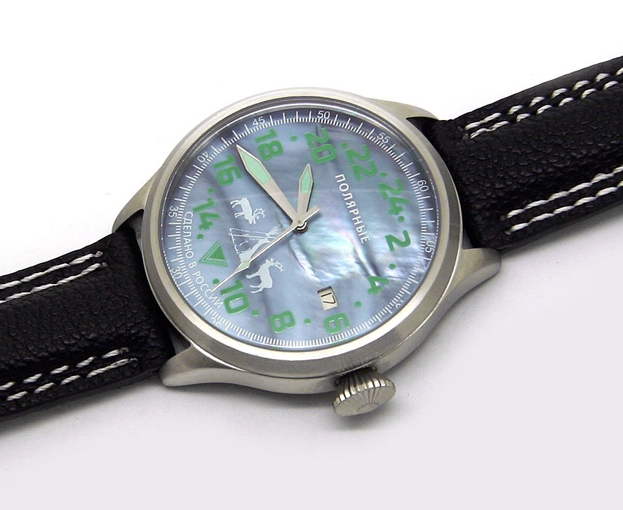 Russian 24-hours mechanical watch POLAR Arctic Northern Lights 45 mm