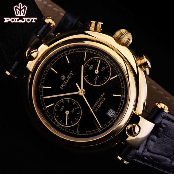 Russian mechanical chronograph watch poljot 3133 basilika gold plated all russian watches for Foljot watches