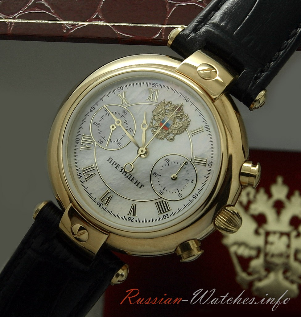 Russian mechanical automatic chronograph poljot 3140 watch president gold plated all russian for Foljot watches