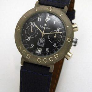 Russian mechanical chronograph watch Poljot Chekist KGB USSR Titanium