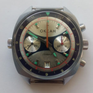 Russian Vintage Poljot OKEAH Navy Chronograph Watch 1980s
