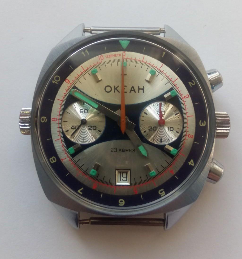 Russian Vintage Poljot OKEAH Navy Chronograph Watch 1980s