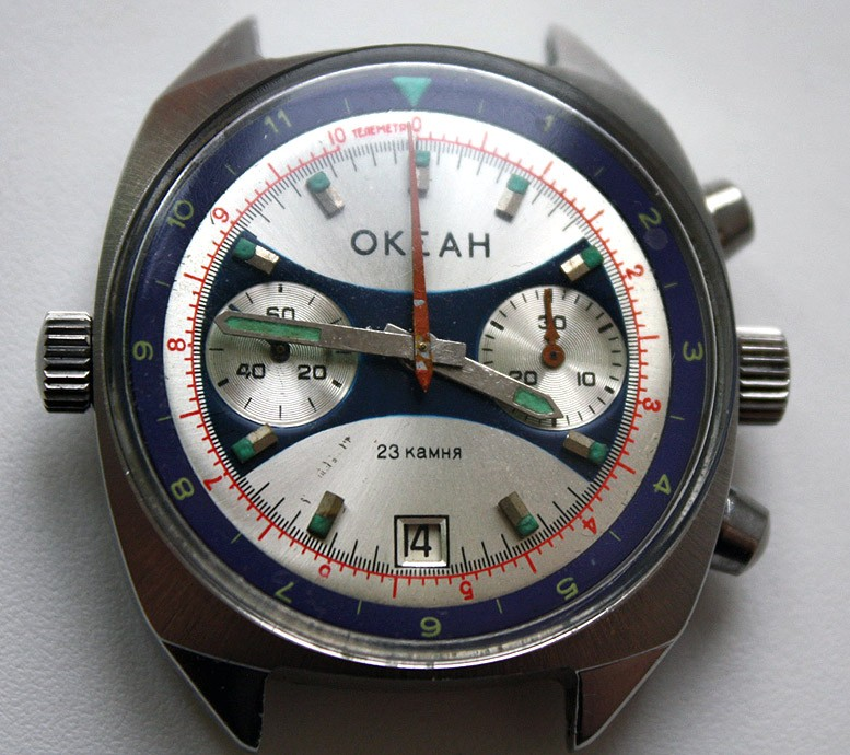 Russian Vintage Poljot OKEAH Sturmanskie Military Navy Chronograph Watch