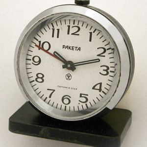 Soviet mechanical alarm signal clock RAKETA USSR 1976