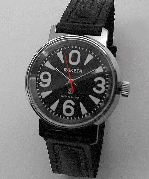 Russian mechanical watch RAKETA 0369 Big Zero Black