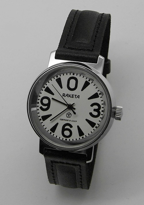 Russian mechanical watch RAKETA 0369 Big Zero White