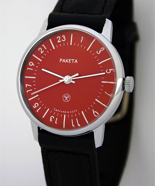Raketa CLASSIC 24-hour mechanical watch Red