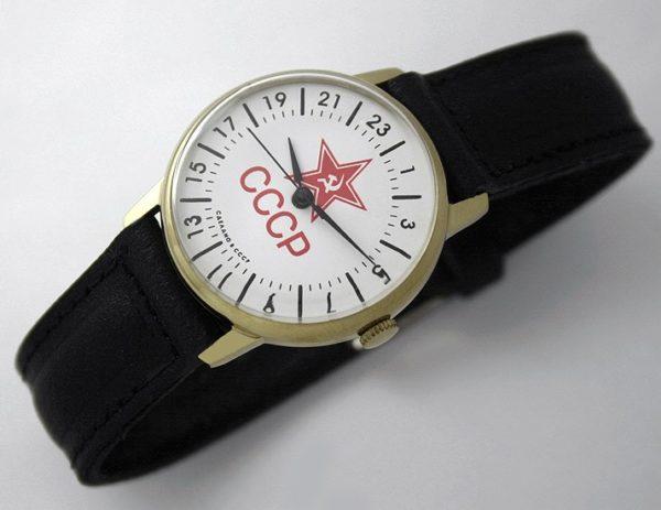 Raketa CLASSIC 24-hour mechanical watch Red Star Gold