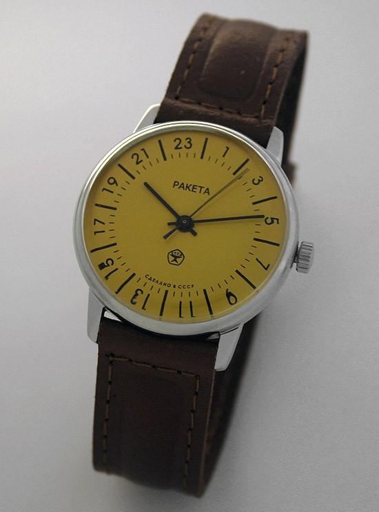 Raketa CLASSIC 24-hour mechanical watch Yellow