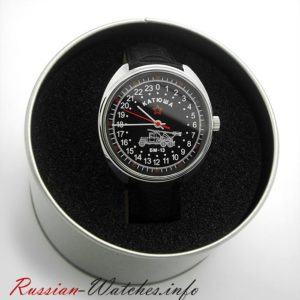 Russian 24-hour mechanical watch KATYUSHA (black)