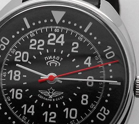 Russian 24-Hours Mechanical Watch PILOT Raketa (black)