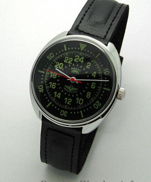 Russian 24-Hours Mechanical Watch PILOT Raketa (black2)