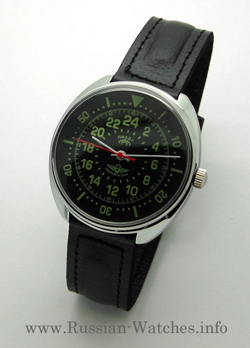 Russian 24-Hours Mechanical Watch PILOT Raketa (black2)