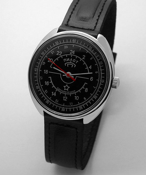 Russian 24-Hours Mechanical Watch PILOT Raketa (black3)