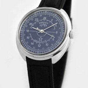 Raketa 24-hour mechanical watch PILOT blue (2)
