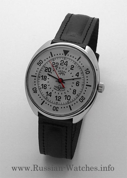 Russian 24-Hours Mechanical Watch PILOT Raketa (white)