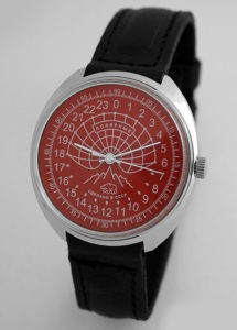 russian watch 24-hours dial raketa polar bear red
