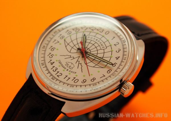 Raketa POLAR BEAR Russian 24-Hour Mechanical Watch (white, luminescent)