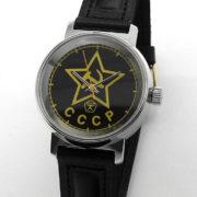 russian watch raketa red star black