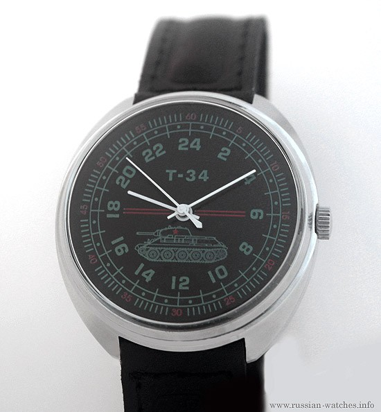 Russian Watch with 24 Hour Dial — Tank T-34