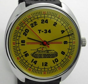 raketa tank t-34 russian 24-hours watch