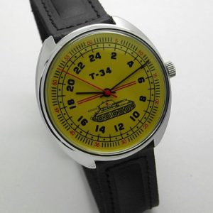 raketa tank t-34 russian watch with 24-hour dial