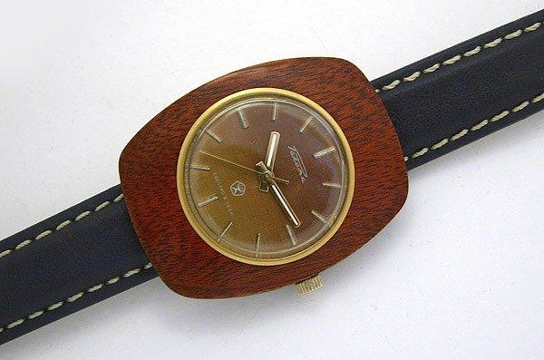 Soviet mechanical watch RAKETA wooden case USSR 1975